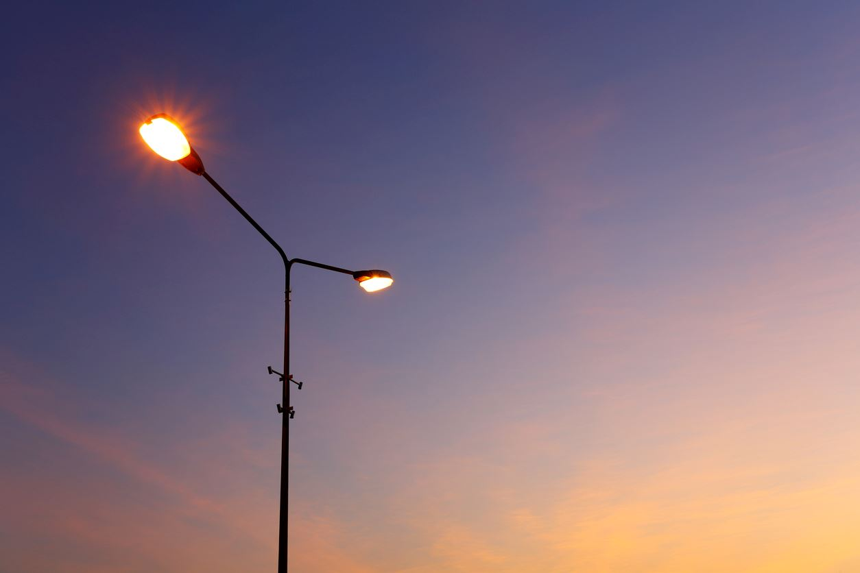 street light at dusk