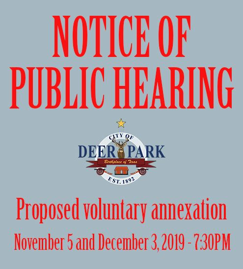 Notice of Public Hearing - Annexation - November 5 and December 3